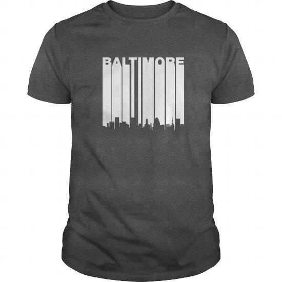 Retro 1970's Baltimore Maryland Downtown Skyline T-Shirt